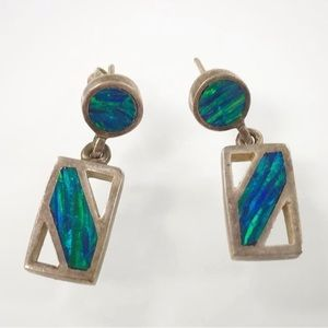 ($5 ADD ON)Vintage Abalone Dangly Stud Earrings